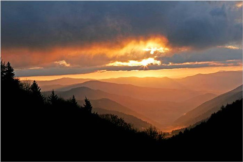 smokey mountain sunset