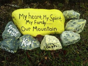 Rock garden - rocks with words painted on them