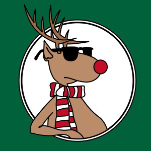 illustration of reindeer wearing sunglasses and red and white striped scarf