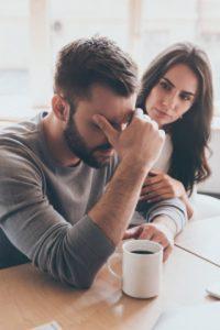 woman worried about boyfriend or husband