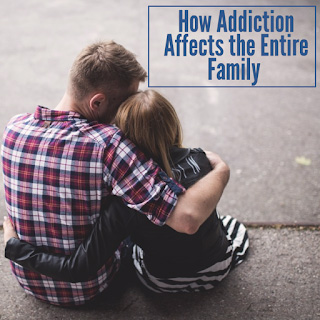 man hugging woman or young woman - seen from behind - addiction affects the entire family