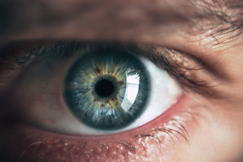 close up of person's eye