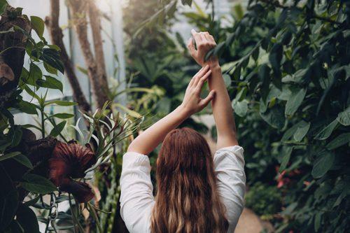 woman walking through greenhouse - ecotherapy