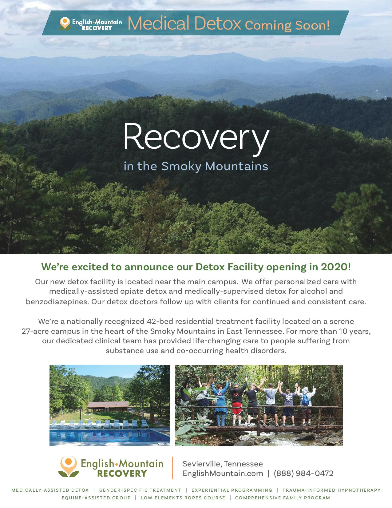 English Mountain Recovery - alcohol and drug detox - medically assisted opiate detox - medically supervised alcohol detox - Tennessee drug alcohol detox