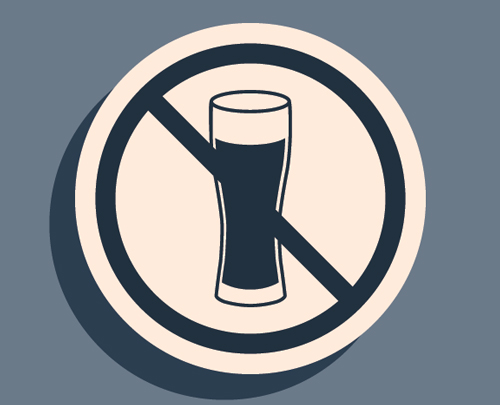 image of no alcohol sign in blue and gray - alcohol awareness month