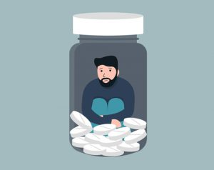 illustration of man trapped in pill bottle with white pills - benzodiazepine addiction