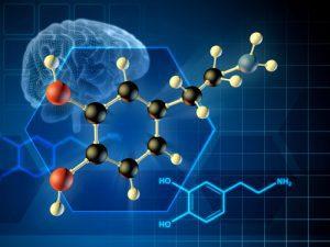 illustration of brain and brain chemistry