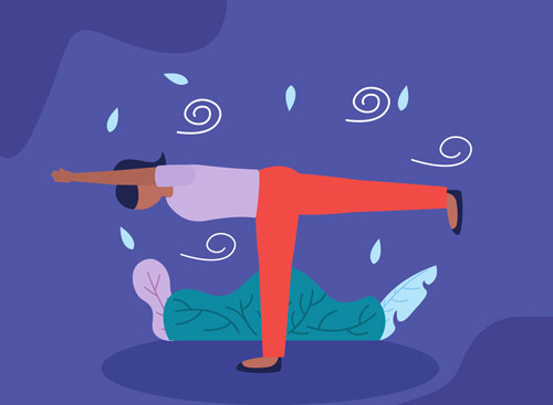 brightly colored illustration of person doing yoga outside - holistic therapy
