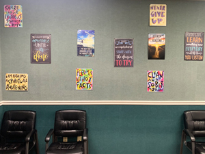 colorful wall art decorating waiting room at English Mountain Recovery