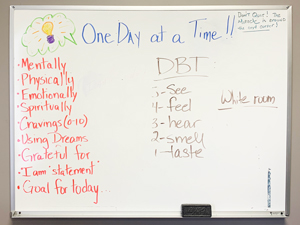 whiteboard covered with recovery terms - English Mountain Recovery Intensive Outpatient Program
