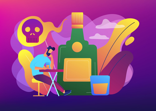 very colorful illustration of man sitting at a table drinking with visions of skulls and alcohol bottles floating around - alcohol awareness