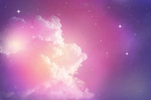 bright pink and purple sky with stars and pink clouds - pink cloud syndrome